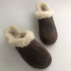 UGG Kalia Brown Leather Sheepskin Clog Mule Sz 8